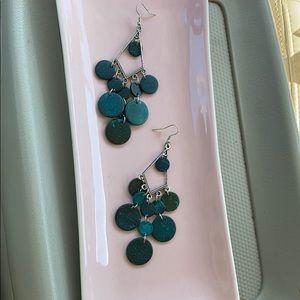 Dark turquoise boho earrings w/two tone back